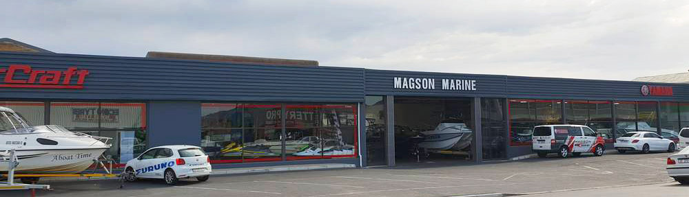 Magson Marine's showroom located at 190-194 Main Road in Strand, Western Cape