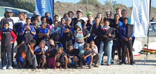 Local kids from Lamberts Bay learning to body board
