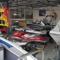Boats and waverunners on the showroom floor