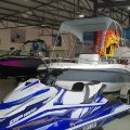 Yamaha waverunner and boats on the showroom floor